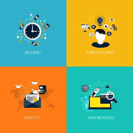 onderzoek: Pictogrammen voor tijd is geld, business development, nieuwsbrief en marketingonderzoek. Vlakke stijl. Vector Stock Illustratie