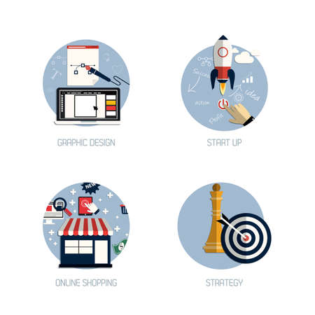 referral: Icons for graphic design, start up, online shopping and strategy. Flat style. Vector Illustration