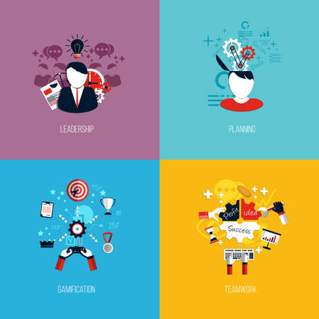 leadership management: Icons for leadership, planning, gamification and teamwork. Flat style. Vector