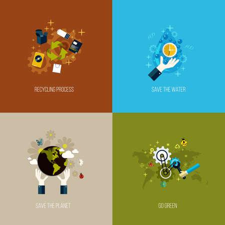 desarrollo sustentable: Iconos para reciclar, ahorrar el agua, salvar el planeta y ser ecológicas. Estilo plano. Vector Vectores