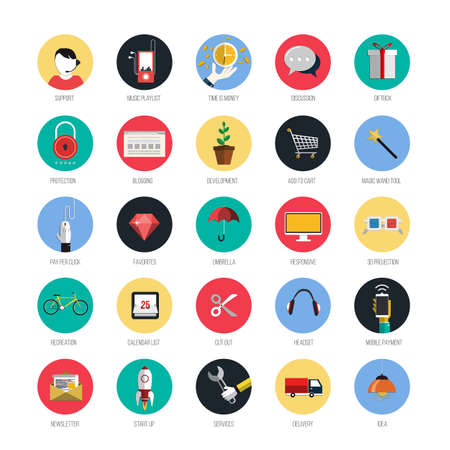 Set of icons for mobile app and web. Flat design with trendy colors.  Vector