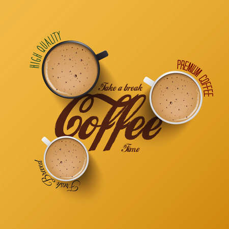 Coffee background with realistic cup of coffee Vector