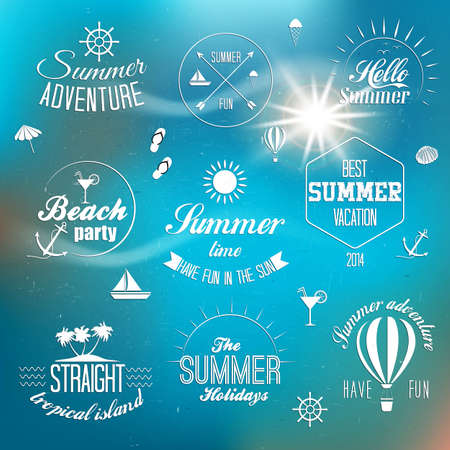 Summer holidays design elements and typography design Vector