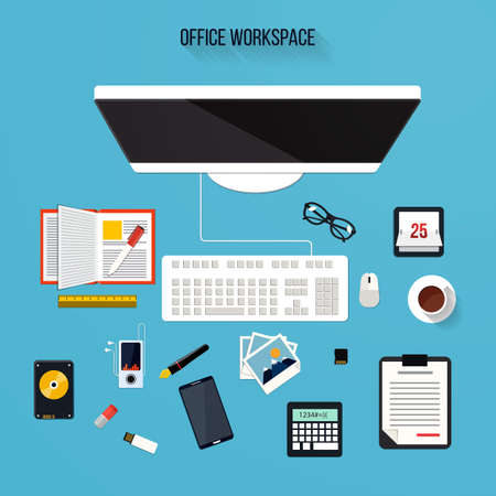 office objects: collection concept of office supplies and objects