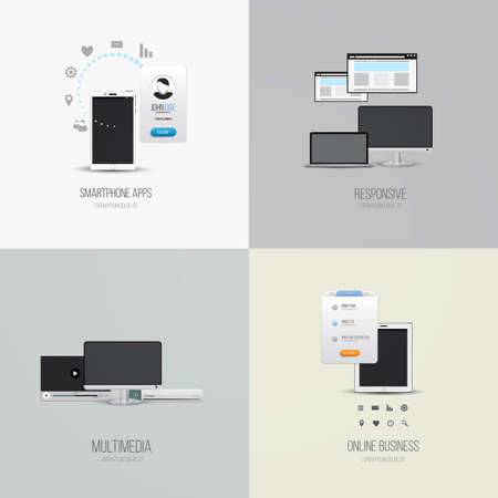 smartphone apps: UI elements and Icons for smartphone apps, responsive, multimedia and online business