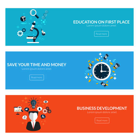 designed: Flat designed banners for education on first place,save your time and money and business development. Vector Illustration
