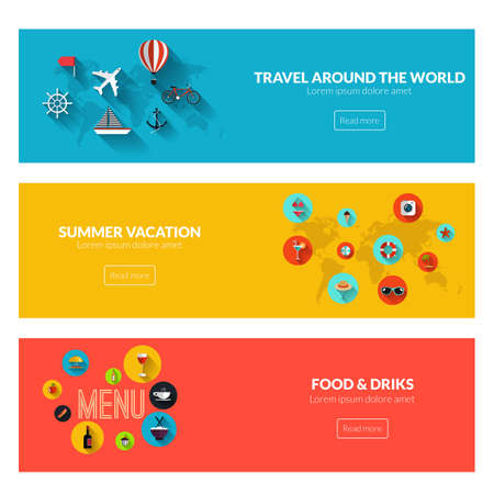 Platte ontworpen banners voor reizen over de hele wereld, de zomer vakantie en eten en drinken. Vector