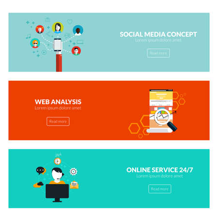 Flat designed banners for social media concept, web analysis and online services. Vector Vector