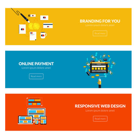 Flat designed banners for branding for you, online payment and responsive web design. Vector Vector