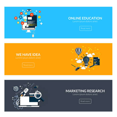 Flat designed banners for online education,marketing research and creative idea. Vector