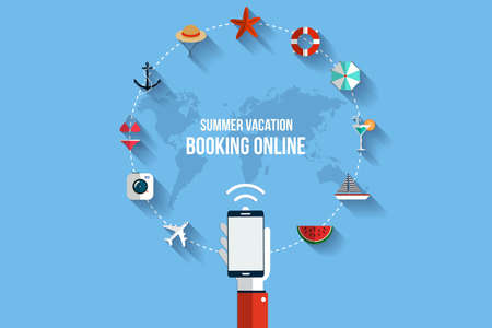 Modern vector illustration icons set of traveling,booking online, planning a summer vacation. Flat desing style. Vector Vector