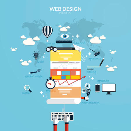 Flat design concept of responsive web design and internet advertising working process, isolated on stylish background. Vector Vector