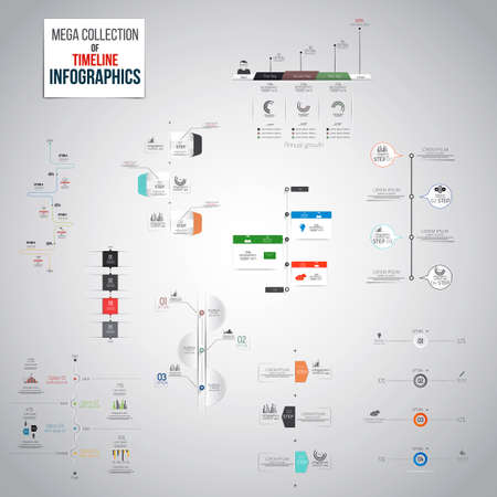 Mega Collection of Timeline Infographics objects . A lot of different templates ready to display your data. Vector Vector