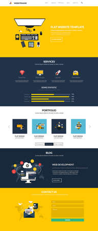 web site design template: Website interface template- one page. Modern flat style. Vector