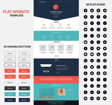 web site design template: Website interface template- one page and set of buttons and flat icons. Modern flat style. Vector Illustration