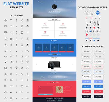 테마: 웹 사이트 인터페이스 템플릿 한 페이지 버튼 및 평면 아이콘 설정합니다. 현대 평면 스타일. 벡터
