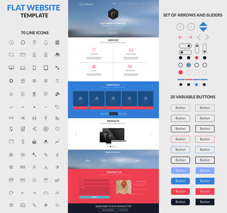 Website interface template- one page and set of buttons and flat icons. Modern flat style. Vector Vector