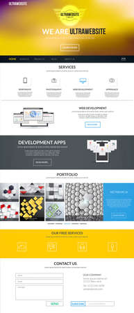 Website interface template- one page. Modern flat style. Vector