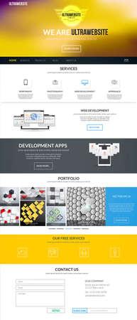 Website-interface template een pagina. Moderne vlakke stijl. Vector Stock Illustratie