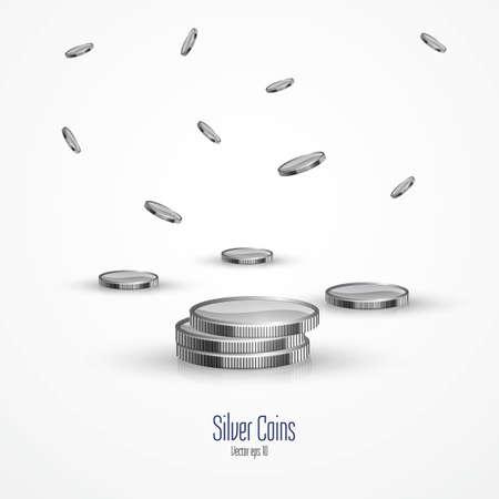millones: Las monedas de plata aisladas sobre fondo blanco. Vector