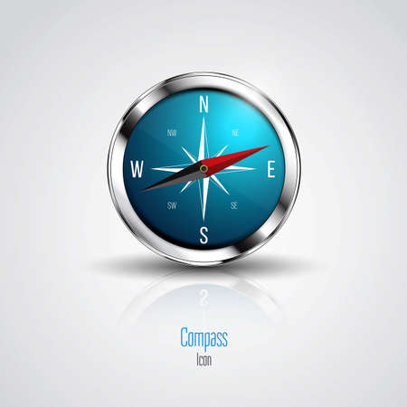 Blue compass isolated on a white background. Vector