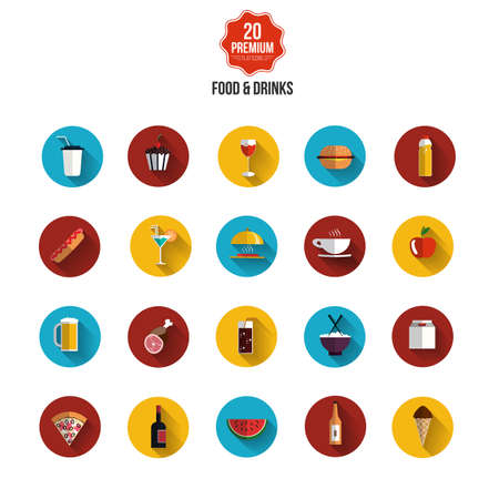 Food and drinks icons- Flat design. Vector Vector