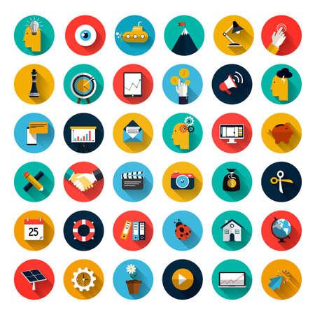 social media marketing: Conjunto de iconos del dise�o de planos con larga sombra para Negocios, SEO y Social Media Marketing Vectores