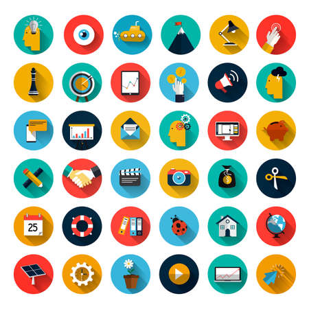 Set of flat design icons with long shadow for Business, SEO and Social media marketing Illusztráció