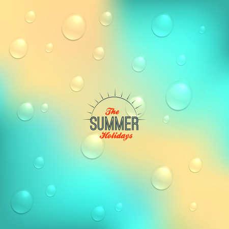 rain drop: Summer background in retro style with rain drop