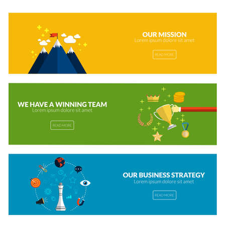team: Flat designed banners for our mission, we have a winning team and our business strategy