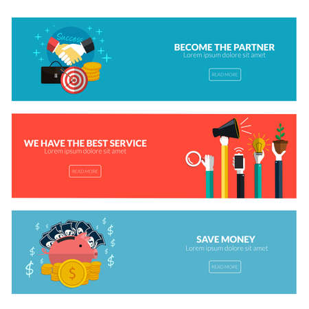 web service: Flat designed banners for become the partner