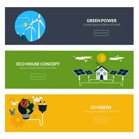 Flat designed banners for green power, eco house concept and go green Vector
