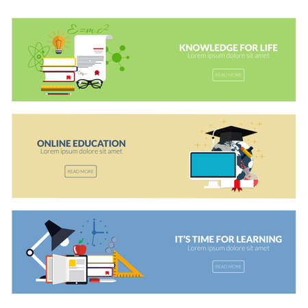 online education: Flat designed banners for knowledge for life, online education and its time for learning