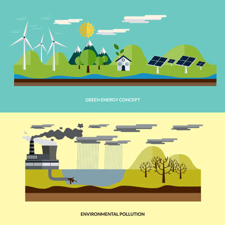 environmental pollution: Flat design ecology concept with icons of  environment, green energy and pollution