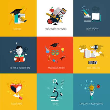 apple computer: Set of education icons Illustration