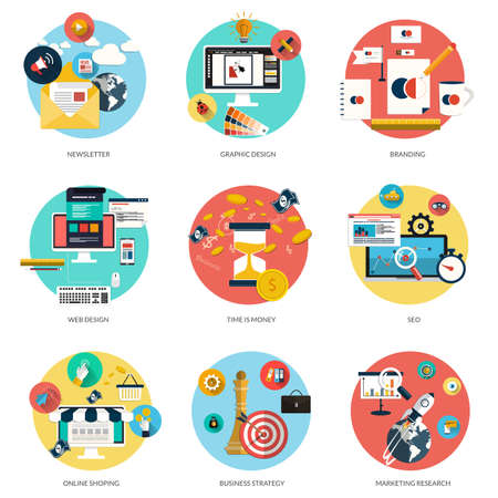 schema: Set di concetti piatte e colorate sulle imprese e newsletter, graphic design, marketing, web design, branding, on line il tema e il tempo shoping e SEO � il denaro. Elementi di design per il web e applicazioni mobili. Vettore