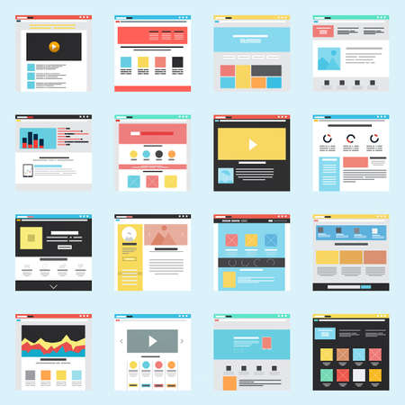 web layout: Set of Flat Website Templates Illustration