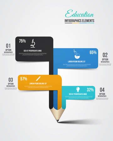 Education pencil Infographics step option Vector