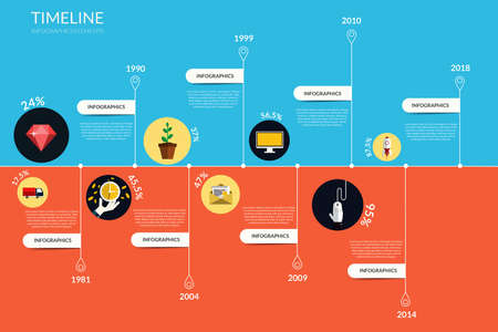 Timeline infographics, elements and icons 向量圖像
