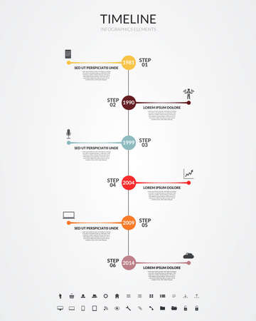 Timeline infographics, elements and icons Vector