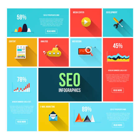 Flat search engine optimization infographics. Design elements for mobile and web applications. Vector Vector
