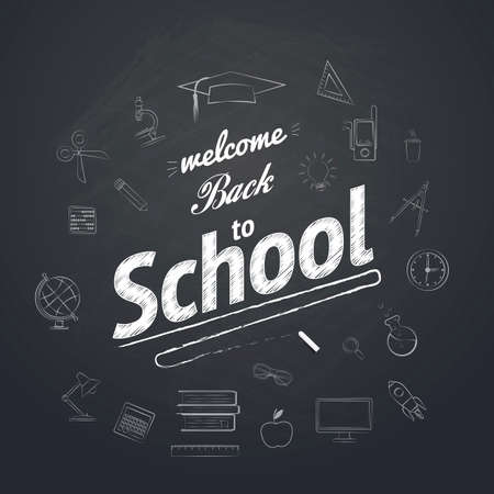 Welcome Back To School Typographical Background On Chalkboard With School Icon Elements Vector
