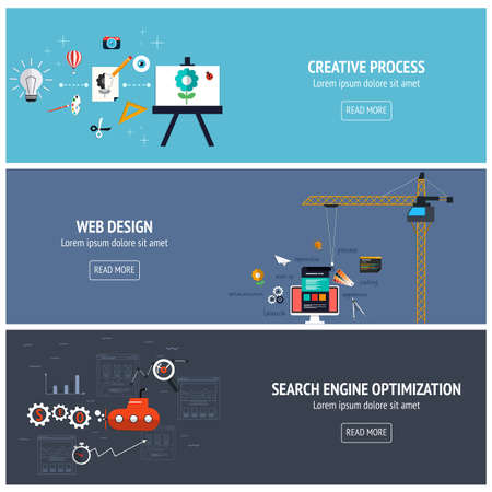 Flat designed banners for creative process, web design andsearch engine optimatization. Vector