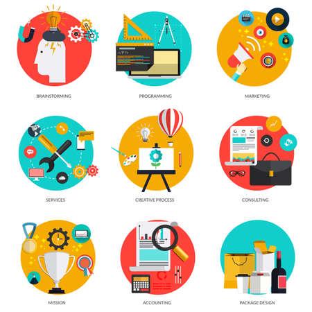 Conjunto de conceptos planos y de colores en la lluvia de ideas y la comercialización, programación, servicio, proceso creativo, la consultoría, la misión, la contabilidad y el diseño del envase. Los elementos de diseño para la web y las aplicaciones móviles. Vector Ilustración de vector