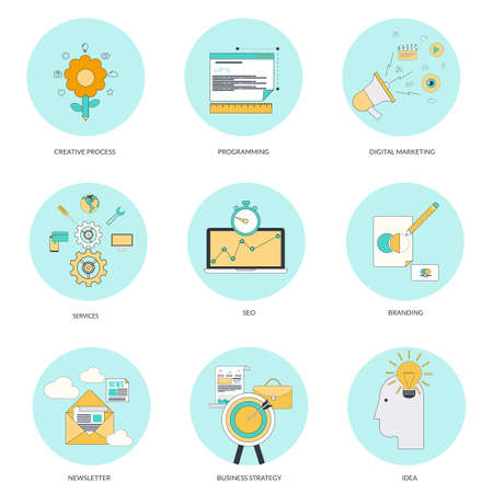 Set of flat line iconsl concepts on creative process, programming, service,digital marketing, seo,branding, newsletter andbusiness strategy . Design elements for web and mobile applications. Vector Vector