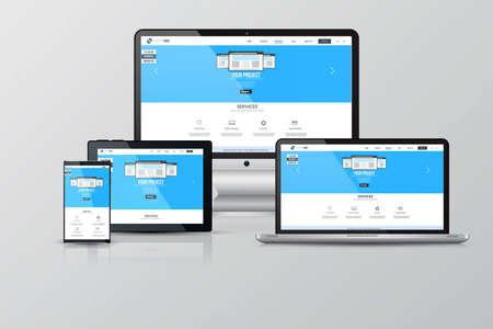 sites web: Maquettes d'�cran adapt�s. Ordinateur, ordinateur portable, moniteur, tablette et Smartphone. Vecteur