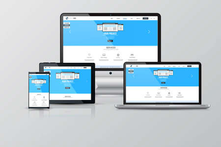devices: Responsive Screen Mockups. Computer, Notebook, Monitor, Tablet and Smartphone. Vector
