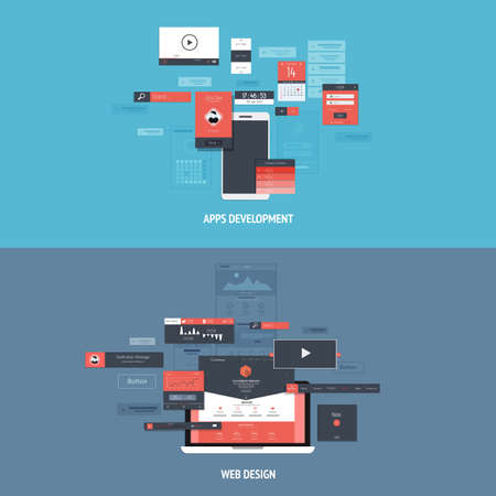 Design concepts Icons for apps development and web design. Flat style. Vector