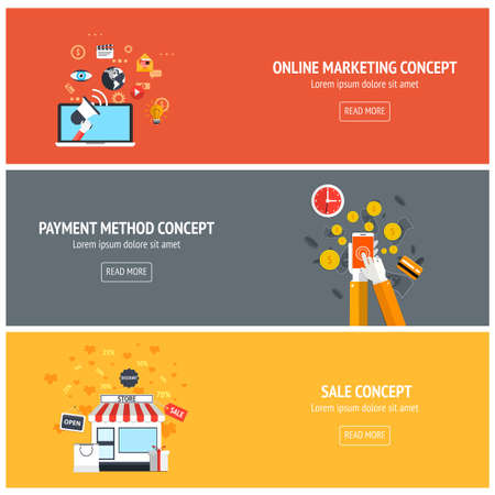 marketing online: Flat designed banners for online marketing, payment method and sale concept. Vector
