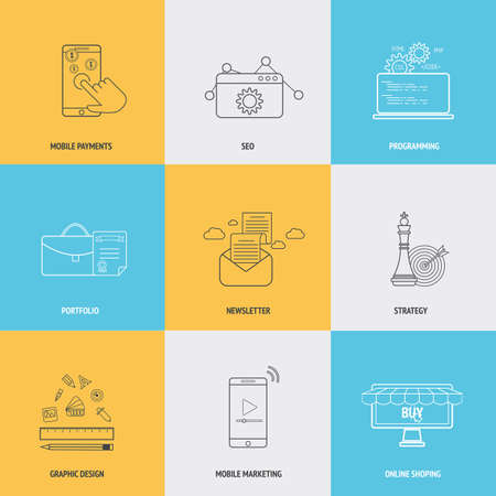 Set of flat line icons concepts of mobile payments,seo, programming, portfolio, newsletter, strategy,mobile marketing, graphic design and online shopping . Design elements for web and mobile applications. Vector Vettoriali